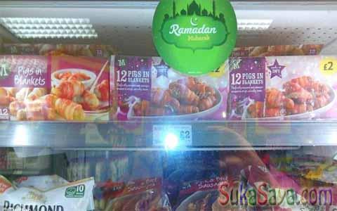 Ini Maksudnya Apa!! Jual Daging Babi Kok Ada Stiker Promo Ramadhan