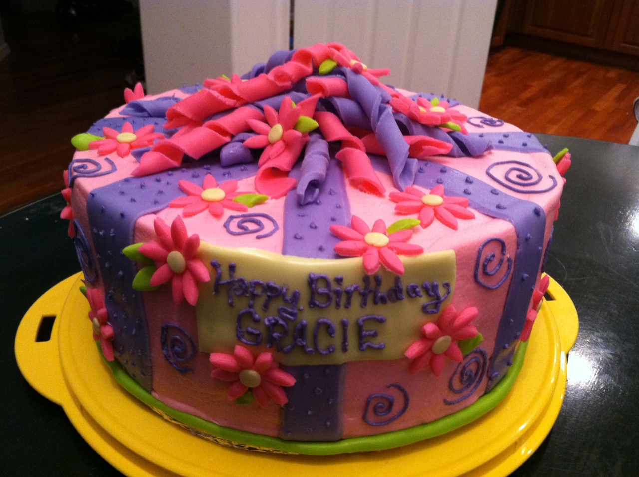 Cats Cake Creations Pink And Purple Birthday Cake With Marshmallow