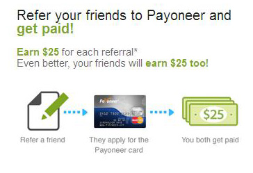 Get $25 when you sign up Payoneer Mastercard