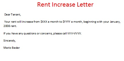 Rent Increase Letter Sample, Rent Increase Form, Rent Incerase Notice