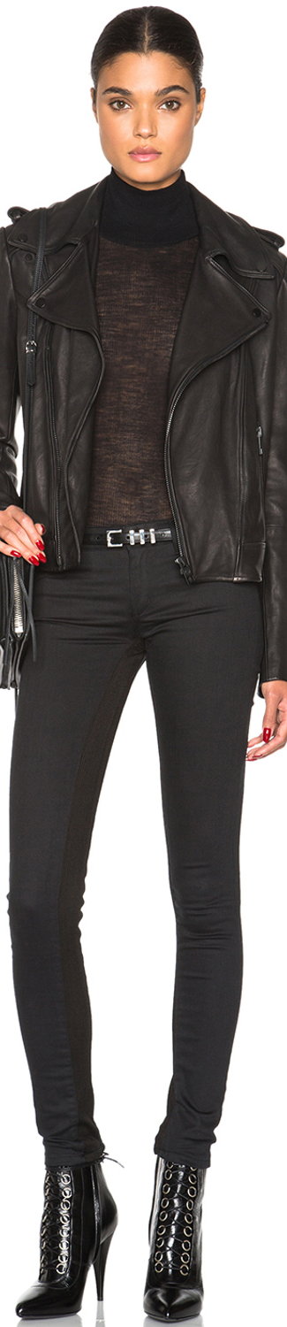 Superfine Leggings and Superfine Rider Leather Jacket