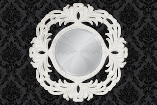 dizajnové okruhle zrkadlo zavesne na stenu v barokovom style v bielej farbe, v zlatej farbe, v striebornej farbe. zrkadlo