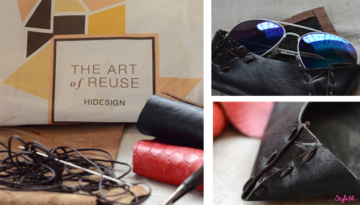 For the Hidesign Art of Reuse contest, Dayle Pereira of Style File is in the final stages of creating her sunglasses case with embossed crocodile leather panels and stitching and has to put the final touches of the crocodile embossed leather trim on the leather sunglasses case