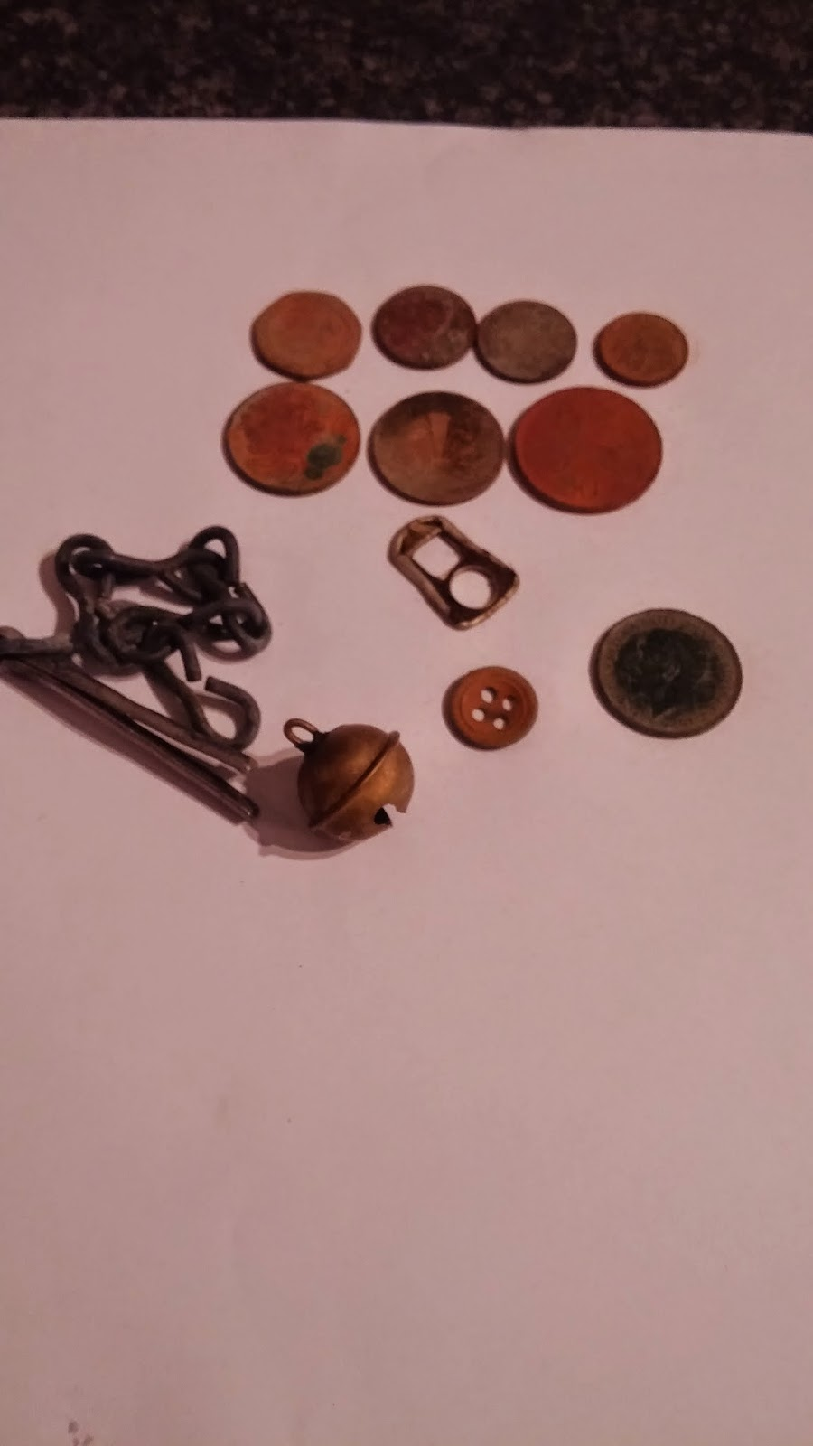 a photo of my metal detecting finds.
