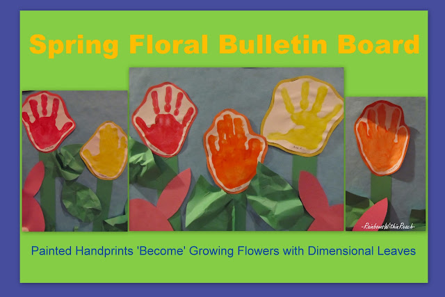 photo of: Painted Handprint Flowers on the Bulletin Board at PreK+K Sharing
