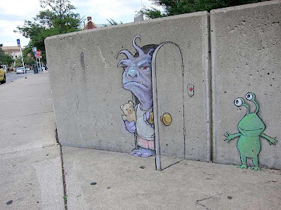 perspective chalk drawings - 3d street art