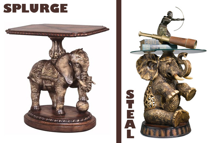Merveilleux Splurge: Exotic Fantasy End Table, $1200. Steal: Sultanu0027s Elephant Side  Table, $170