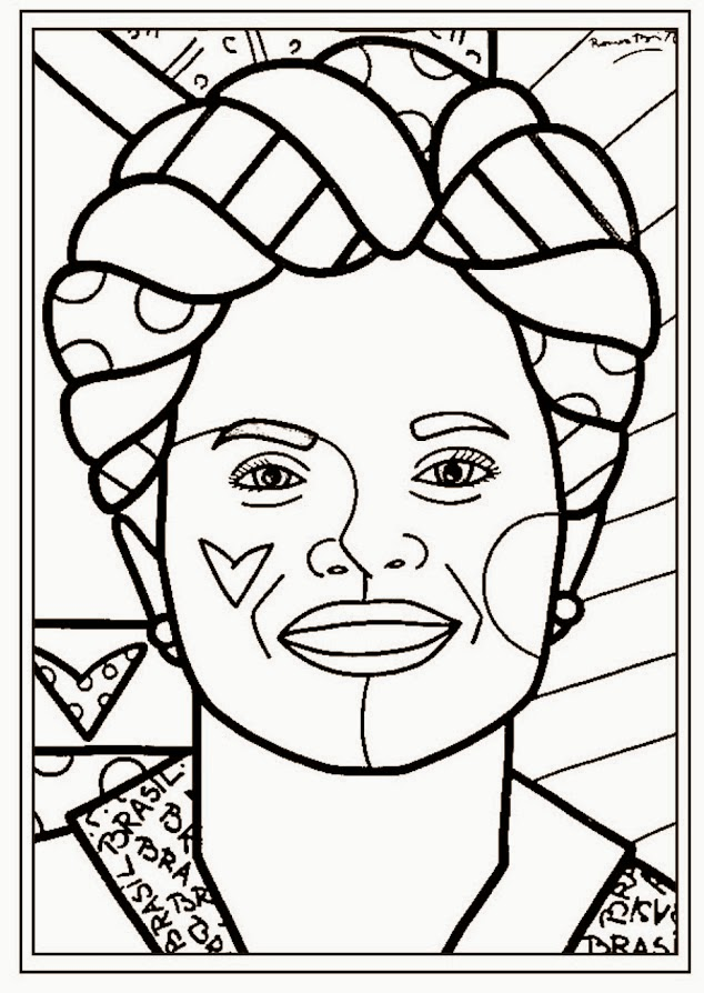 Romero Britto para colorir - Presidente do Brasil Dilma
