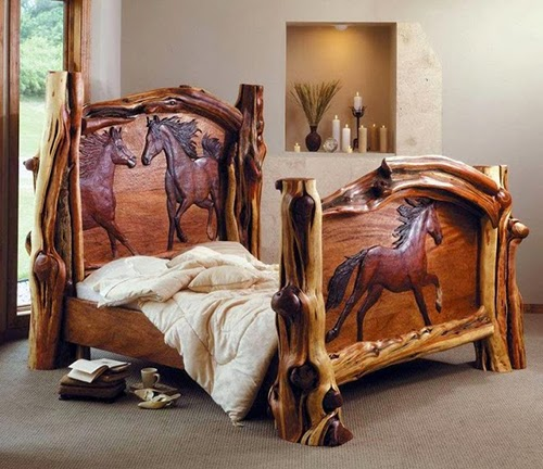 mattress creative rustic bed with horses on headboard and footboard