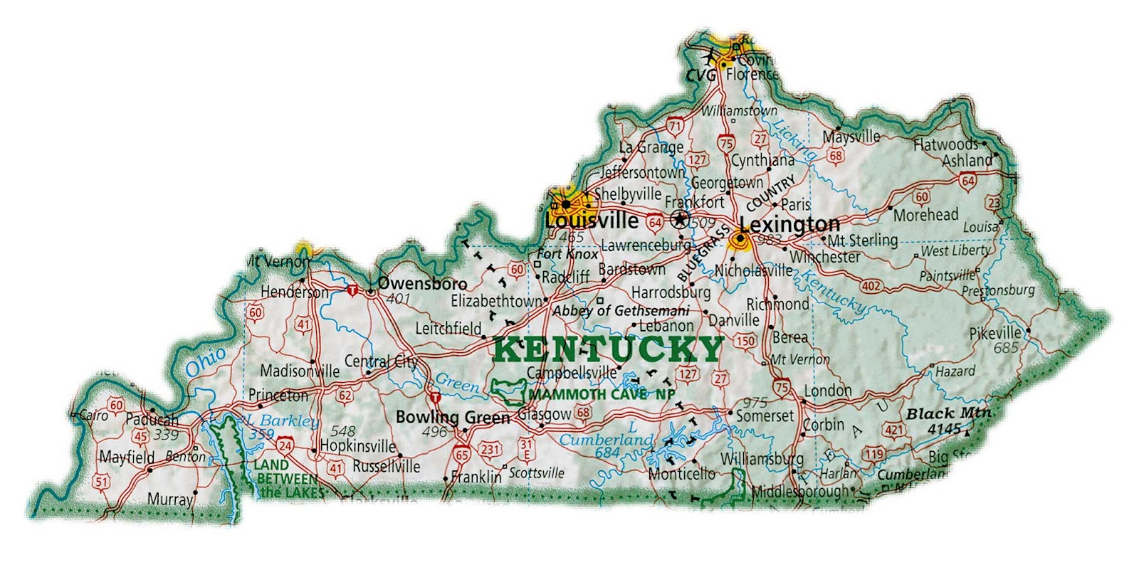 It is a photo of Striking Printable Maps of Kentucky