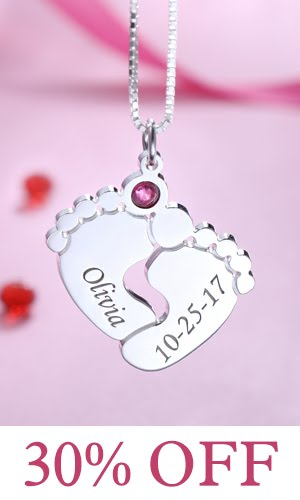 getnamenecklace baby feet necklace