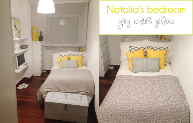 Habitación invitados en gris y amarillo