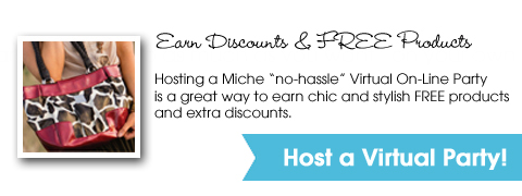 Earn FREE Miche Products & Discounts when you Host a Miche Virtual On-Line Party
