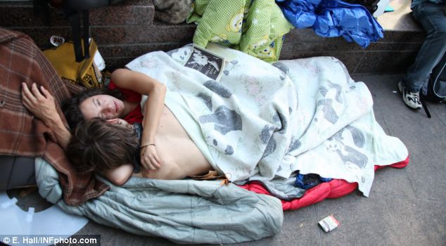 Couple having sex in public at Occupy Wall Street
