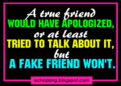 A true friend would have apologized, or atleast tried to talk about it, but fake friend won't.