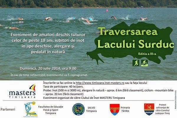 Traversarea lacului Surduc. Ediţia a 3-a. Eveniment de înot în ape deschise, pedalat şi alergare în natură, dedicat persoanelor de peste 18 ani