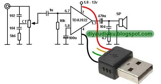 Rangkaian USB Amplifier untuk Laptop atau PC berbasis IC TDA2822 Saya masih bereksperimen menggunakan IC TDA2822.