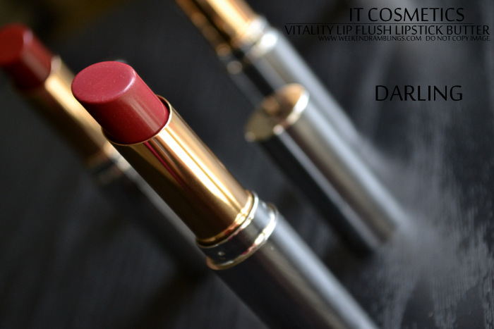It Cosmetics Anti-Aging Lip Balm Vitality Lip Flush Lipstick Butters Darling In Love Pillow Review Swatches Photos FOTD Cruelty Free Makeup Beauty Blog Indian Darker Skin