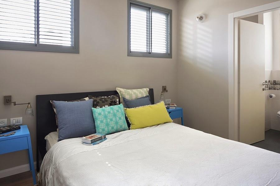 amenajari, interioare, decoratiuni, decor, design interior , apartament, gri, albastru , galben, dormitor