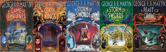 A Song of Ice and Fire UK cover art work A Game of Thrones A Clash ok Kings A Storm of Swords A Feast for Crows