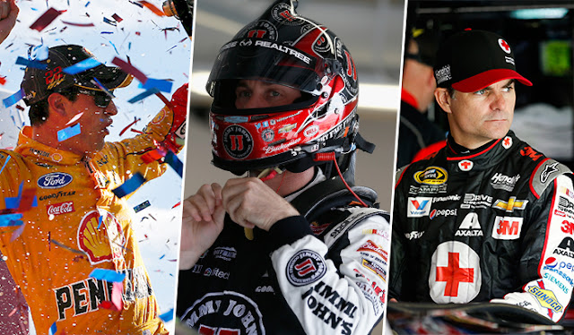 Joey Logano, Kevin Harvick, Jeff Gordon at Kansas