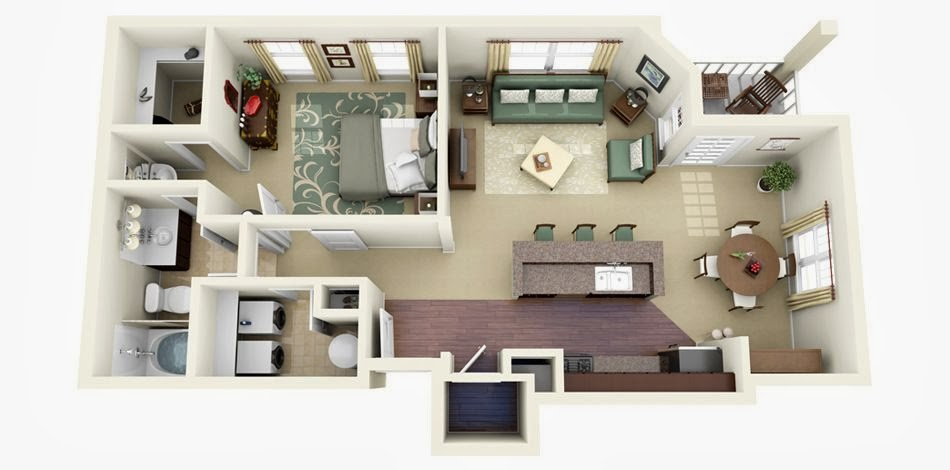 Apartment building plans with one and two bedrooms for 45 square meter house interior design