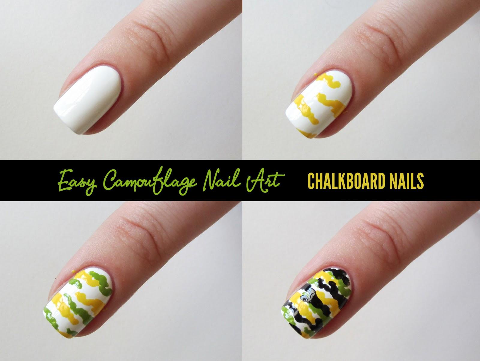 Chalkboard Nails Camouflage Nail Art Tutorial