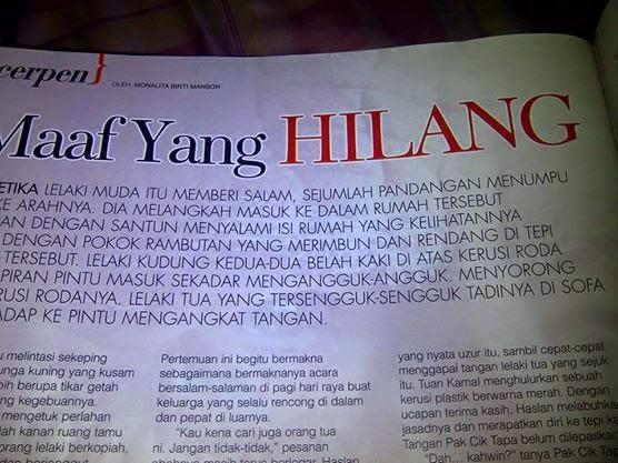 Cerpen di Majalah Harmoni 15-31 Disember 2014