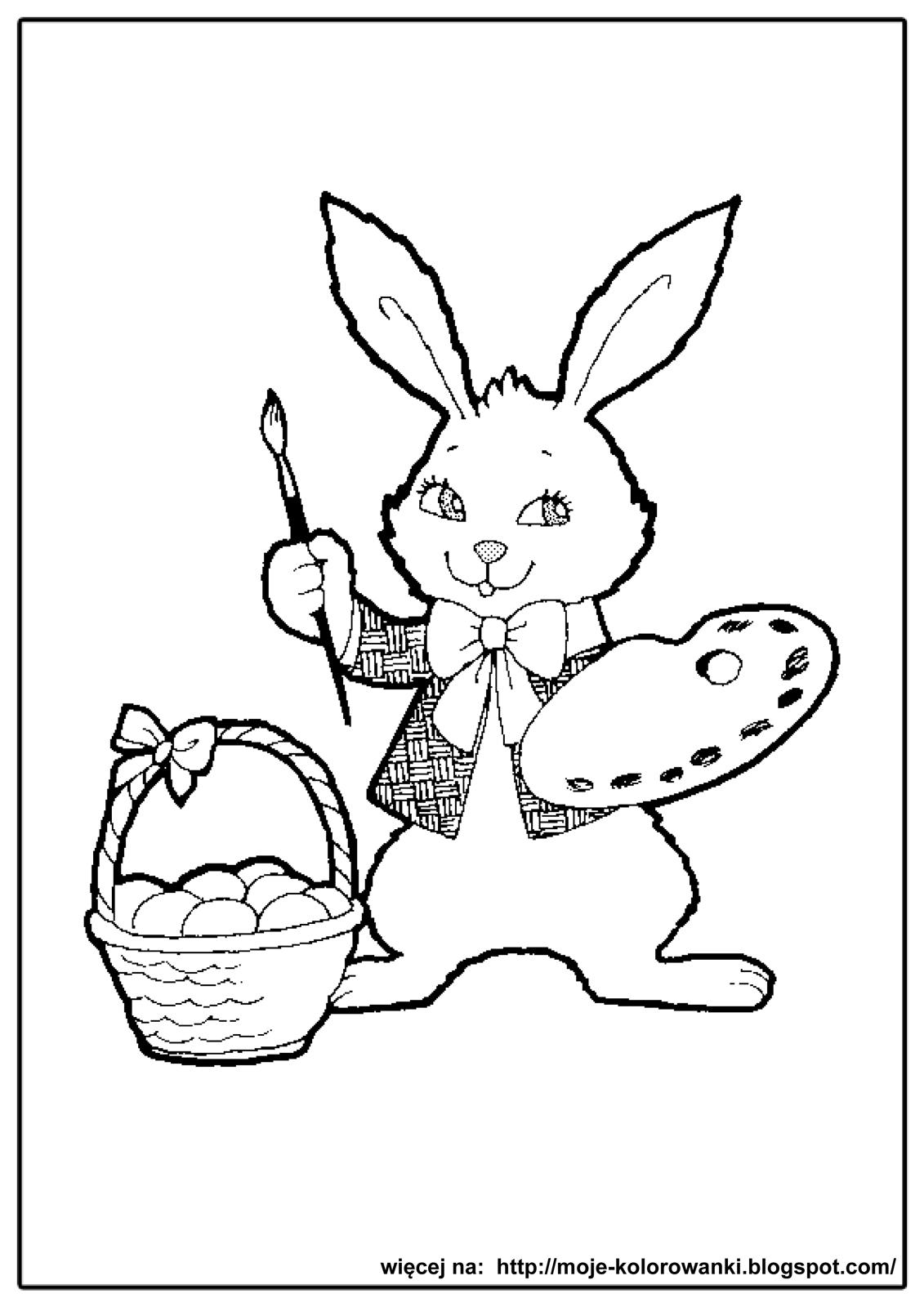 Easter Bunny With Eggs Clipart Black And White Kolorowanki dla dzieci...