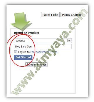 Gambar: Memilih kategori dan memberikan nama untuk page faceboook