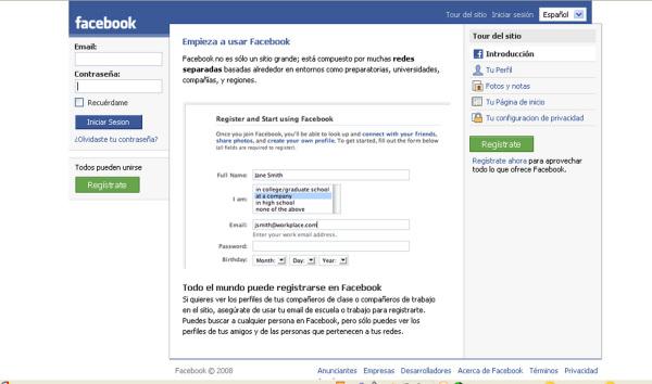 Facebook Español facial
