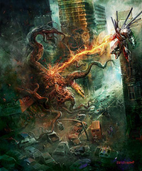 Halil Ural mrdream deviantart ilustrações fantasia arte conceitual Monstro destruindo a cidade