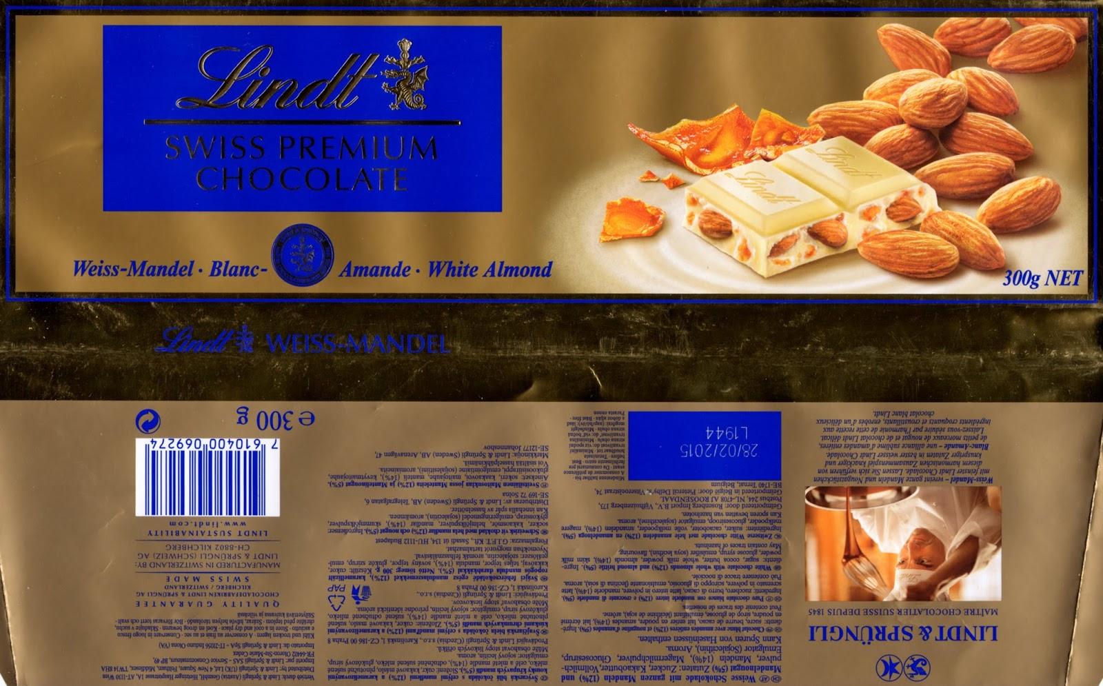tablette de chocolat blanc gourmand lindt blanc amandes entières et nougatine d'amande