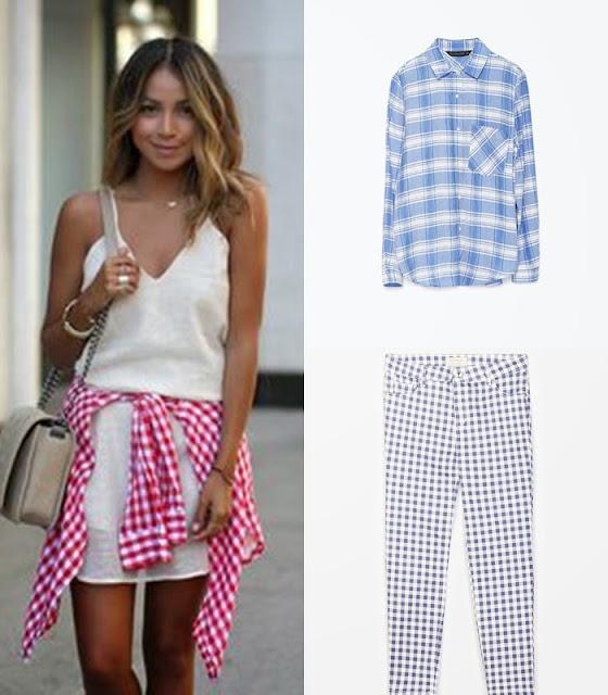 Peças moda tendencia verão 2015 camisas e calças gingham zara