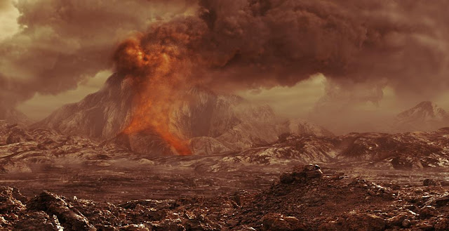 Artist's impression of a volcano erupting on Venus. Credit: ESA - AOES Medialab