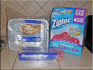 foil trays, Ziploc bags and foil wrap