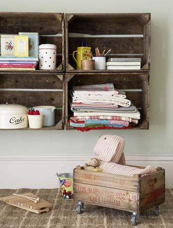 repurpose crate shelves storage