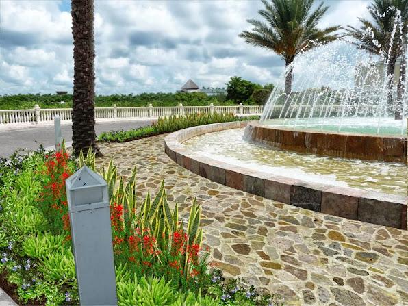 diseño jardín fuente - modelo rondo, piso piedra