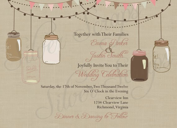 vintage hanging mason jar wedding invitation with bunting and twinkling lights