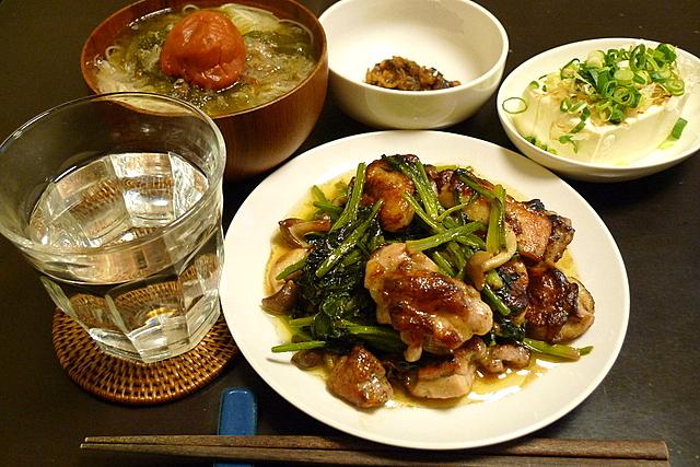 鶏肉とほうれん草のマヨポン炒め