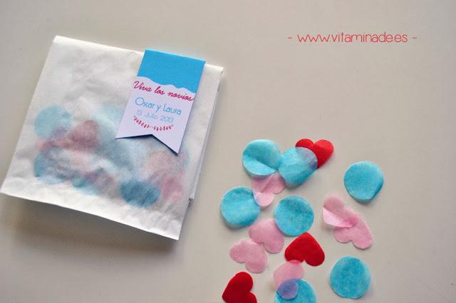 confettis con etiqueta