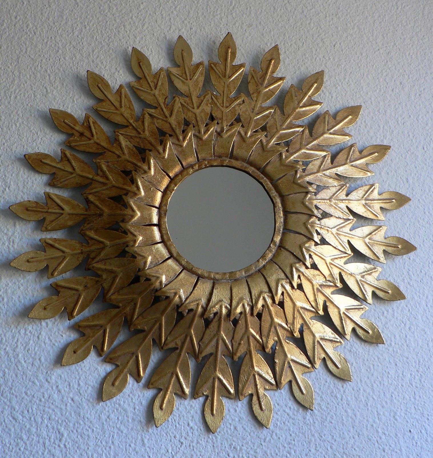 Vintage kitsch siglo xx espejo sol dorado a os 60 metalico - Espejo sol dorado ...