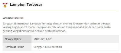 Rekor Lampion Terbesar dari MURI