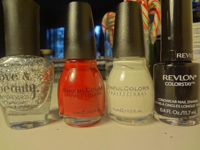 silver glitter nail polish, red nail polish, white nail polish, black nail polish