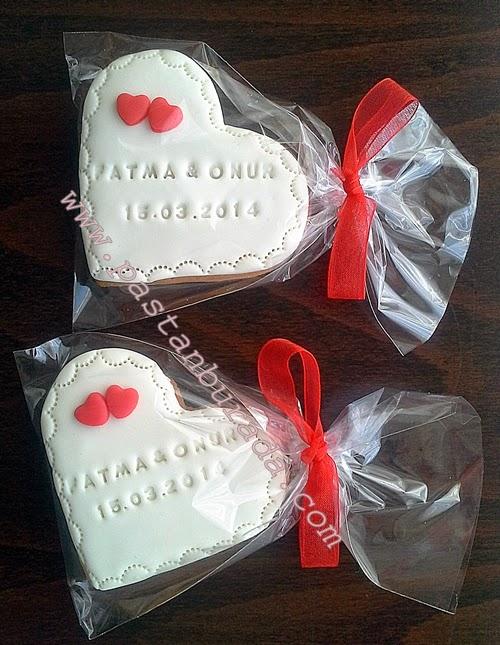 Nişan kalp tasarım kurabiye