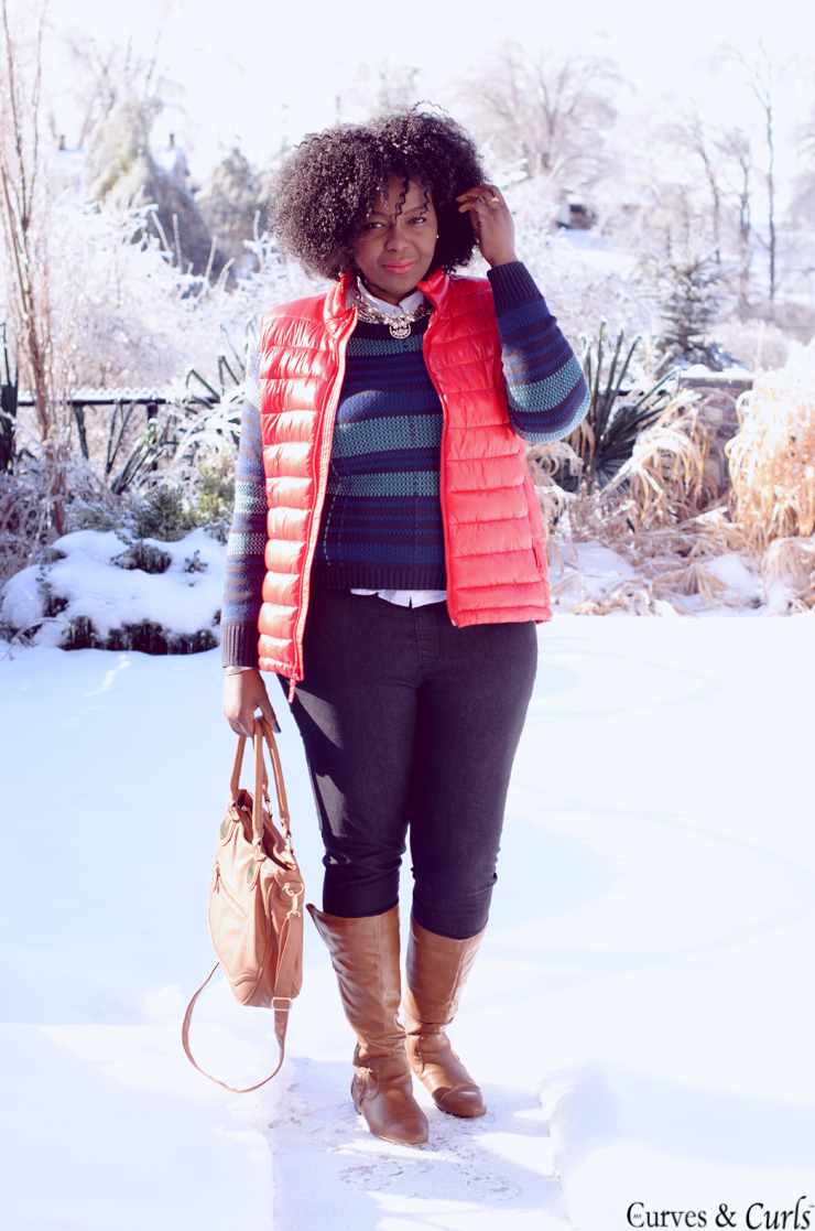 how to wear a puffer vest -#red #plussize