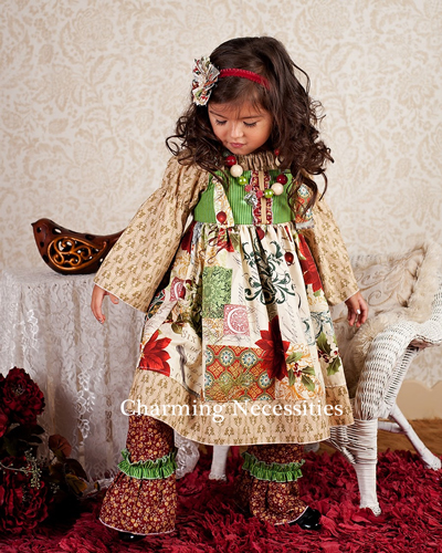 French Vintage Christmas Girls Boutique Dresses