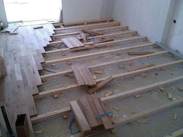 Τοποθέτηση δρύινου ξύλινου δαπέδου