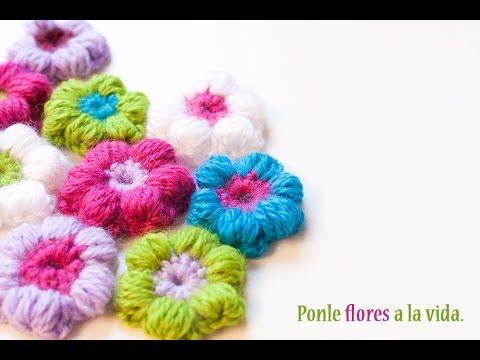 5 Tutoriales : Cómo hacer una flor puff de ganchillo