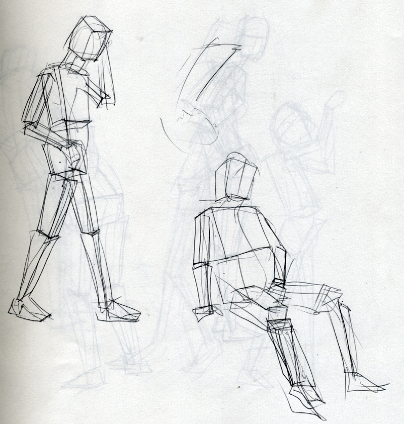 Chapters 3 and 4 of Vilppu's drawing manual applied to my life drawing